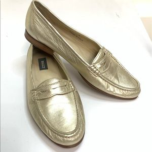 Bally Gold Penny Loafer Flat 8 excellent Condition